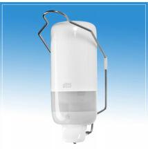 Tork S1, folyékonyszappan tartó és adagoló könyökkarral, tartály nélküli kivitelben, fehér-szürke műanyag burkolattal
