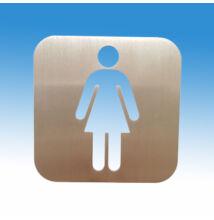 Női WC piktogram szálcsiszolt rozsdamentes acélból