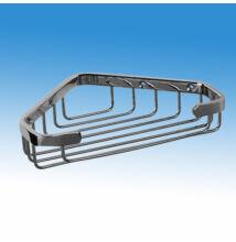 Krómozott rácsos fali, sarok szappantartó/polc, 235x31x170 mm