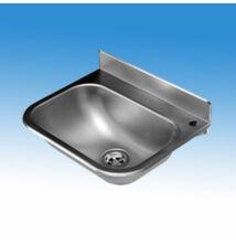 Falra szerelhető mélyhúzott medencés kézmosó rozsdamentes acélból, 480x320 mm, csapfurattal, leeresztő szeleppel