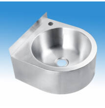 Rozsdamentes fali mosdó hátsó felhajtással, D300 mm medencével, 360x362x160 mm, csapfurattal