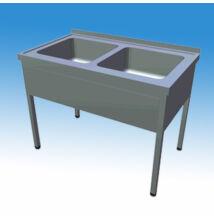Kétmedencés nagykonyhai és ipari mosogató 1000x600x850 mm, lábazattal, szifonnal, 400x500x250 mm-es medencével
