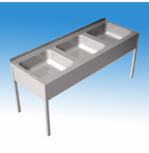 Hárommedencés nagykonyhai és ipari mosogató 1800x700x850 mm, lábazattal, szifonnal, 500x600x300 mm-es medencével