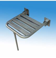 Felhajtható zuhanyszék, falra szerelhető, rozsdamentes acél, támasztó lábbal szaténfényű