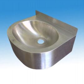 Falra szerelhető hegesztett oválmedencés kézmosó köténylemezzel, 400x355x150 mm, szifonnal, leeresztőszeleppel