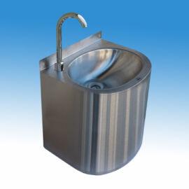 Falra szerelhető vandálbiztos mosdó, kézmosó zárt szifonburkolattal, infrás csapteleppel,  rozsdamentes acél, 400x355x30
