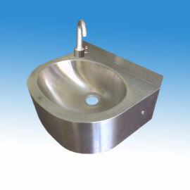 Falra szerelhető mosdó, kézmosó, keverőkaros hideg és meleg vizes csapteleppel, nyomógombos (extrakönnyű) indítással, sz