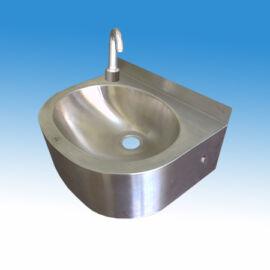Falra szerelhető mosdó, kézmosó, kevert vizes csapteleppel, nyomógombos (extrakönnyű) indítással, szifonnal, leeresztősz