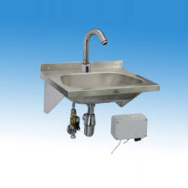 Falra szerelhető mélyhúzott medencés kézmosó infrás csappteleppel, kevert vízre
