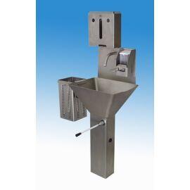 Lábonálló trapézmed. kézmosó, térdkapcs. kevert vízre, alsó kifolyású, papírtörülköző tartó, hulladékgyűjtő, szap.adag.