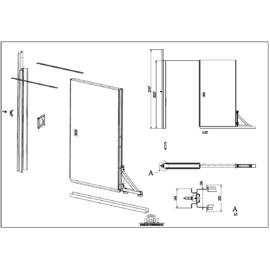 Automata ajtó modul, dibond burkolatú ajtólappal, kefékkel, vészkioldó fogantyúval