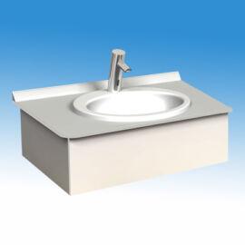 Műgyanta mosdópult, 1000x600 mm, 1 db porcelán medencével, fehér színben, színazonos lapmaggal, belátásgátlóval, vízvető