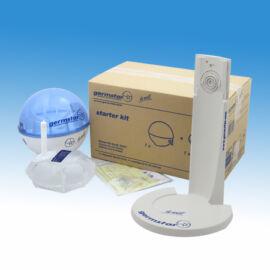 Germstar asztalra tehető/falra szerelhető, infrás kézfertőtlenítőszer adagoló induló szett, műanyag, kék-fehér (adagoló+