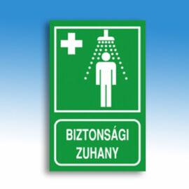 Vészzuhany jelző tábla (felirat+piktogram), kasírozott PVC, 160x250x1 mm, utánvilágító