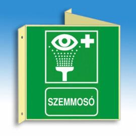 Szemmosó jelző tábla (felirat+piktogram), faltól elálló, sátor alakú, kétoldalas, 150x150 mm (PVC), utánvilágító