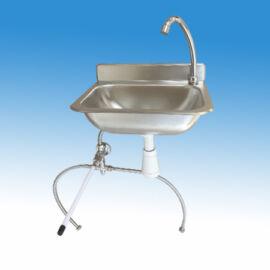 Falra szerelhető mélyhúzott medencés rozsdamentes kézmosó térdkapcsolóval, kevert vízre,380x300 mm