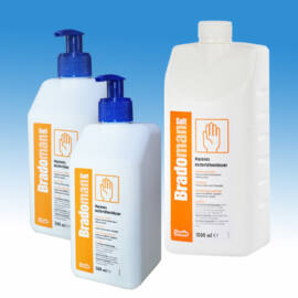 Bradoman Soft alkoholos kézfertőtlenítőszer 1l-es + 2 db 0,5 l-es pumpás kiszerelésben baktericid, virucid, tuberkulocid