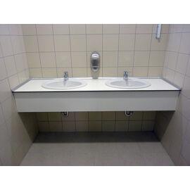 Műgyanta mosdópult, 2000x600 mm, 2db porcelán medencével, alap színben, barna lapmaggal, belátásgátlóval, vízvetővel, há