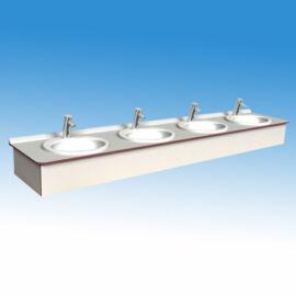 Műgyanta mosdópult, 4000x600 mm, 4 db porcelán medencével, alap színben, barna lapmaggal, belátásgátlóval, vízvetővel
