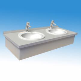 Munkalap mosdópult, 1000x600 mm, 2 db porcelán medencével