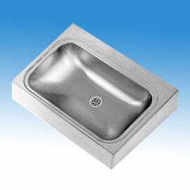 Falraszerelt mosdó rozsdamentes acélból 700x514x170 mm, 600x340x170 mm-es medencével, konzolokkal, leeresztőszeleppel