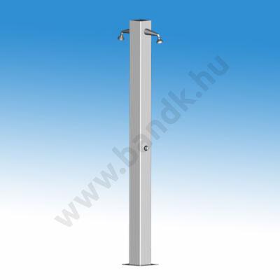 Kétkaros szabadtéri zuhanyoszlop (150x150) kevert vízre, időzített, nyomógombos működtetéssel