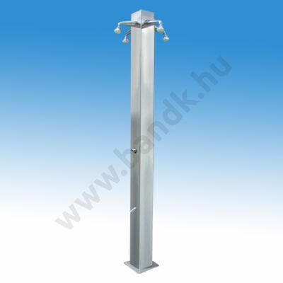 Négykaros szabadtéri zuhanyoszlop (150x150) kevert vízre, egy lábzuhannyal, időzített nyomógombos működtetéssel