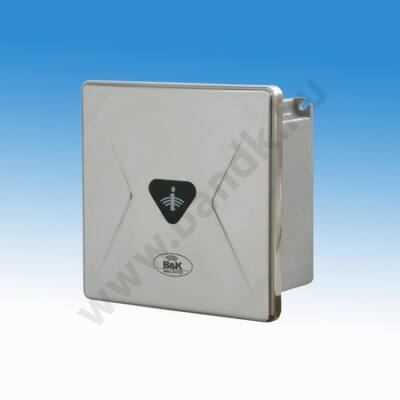 Infrás WC öblítő szelep, rejtett csavarozású előlappal, 150 mm-es műanyag dobozban, 230 V AC tápegység