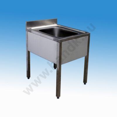Egymedencés nagykonyhai és ipari mosogató 500x600x850 mm, lábazattal, szifonnal, 400x400x250 mm-es medencével