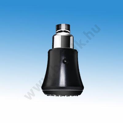 Víztakarékos állítható zuhanyfej vandálbiztos felfogatással, fekete, műanyag, zuhanykar nélkül