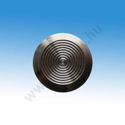 Taktilis útburkolati figyelmeztető elem vakok és gyengénlátók számára, D 30x5 mm, rozsdamentes acélból, mintás felülette