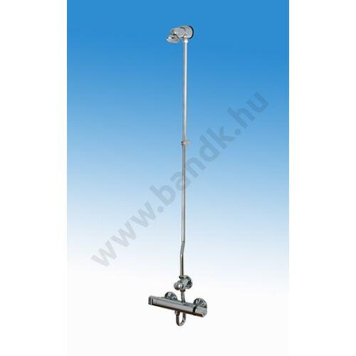 Falon kívül csövezett zuhanyrendszer termokeverővel, időzített, nyomógombbal, fix zuhanyfejjel (30±10 mp)