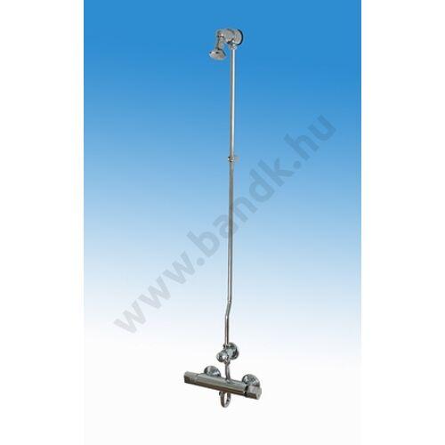 Falon kívül csövezett zuhanyrendszer termokeverővel, időzített, nyomógombbal, állítható zuhanyfejjel (30±10 mp)