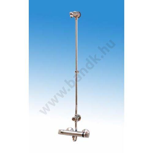 Falon kívül csövezett zuhanyrendszer termokeverővel, időzített, nyomógombbal, perlátoros zuhanyfejjel (30±10 mp)