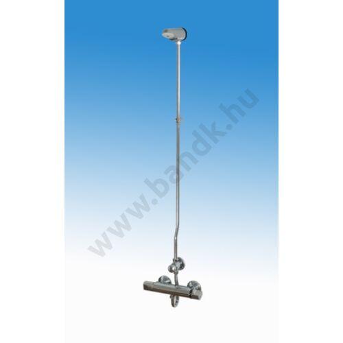 Falon kívül csövezett zuhanyrendszer termokeverővel, időzített, nyomógombbal, fix II. zuhanyfejjel (30±10 mp)