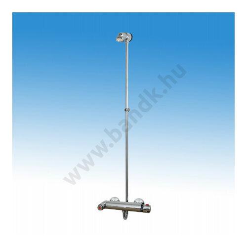 Falon kívül csövezett zuhanyrendszer, termokeverővel egybeépített időzített, nyomógombbal, fix zuhanyfejjel (30±10 mp)