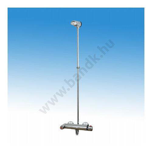 Falon kívül csövezett zuhanyrendszer,termokeverővel egybeépített időzített,nyomógombbal,fix II. zuhanyfejjel (30±10 mp)