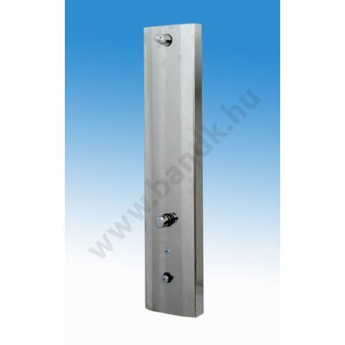 Burkolt zuhanyrendszer termosztatikus keverővel, időzített, nyomógombbal, fix II. zuhanyfejjel (30±10 mp)