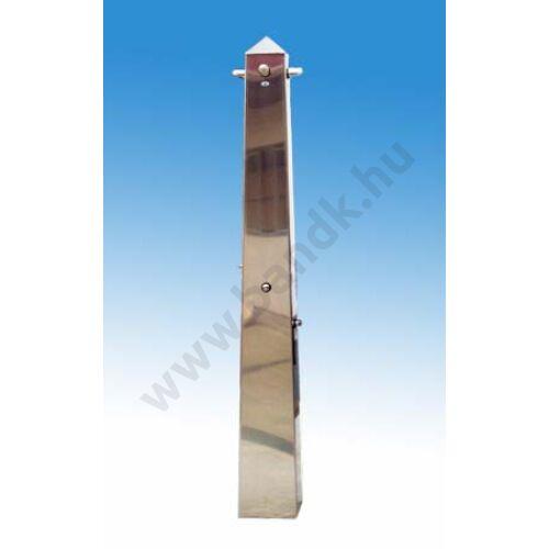 Négyfejes szabadtéri zuhanyoszlop (gúla) kevert vízre, időzített, nyomógombos működtetéssel