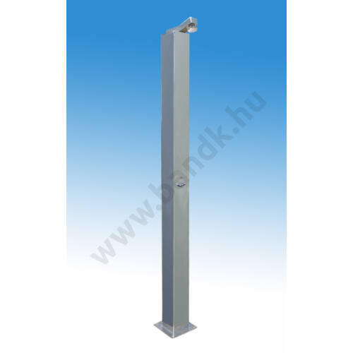 Egyfejes szabadtéri zuhanyoszlop (150x150) egyedi termokeverővel, időzített, nyomógombos működtetéssel