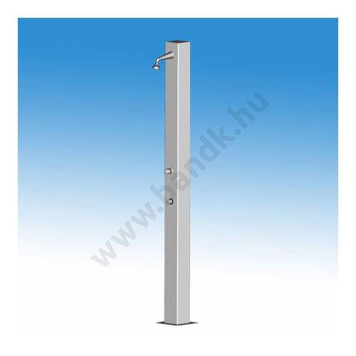 Egykaros szabadtéri zuhanyoszlop (150x150) egyedi termokeverővel, időzített, nyomógombos működtetéssel