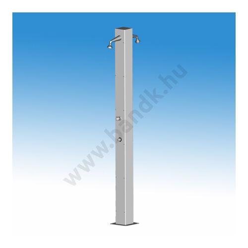 Kétkaros szabadtéri zuhanyoszlop (150x150) egyedi termokeverővel, időzített, nyomógombos működtetéssel