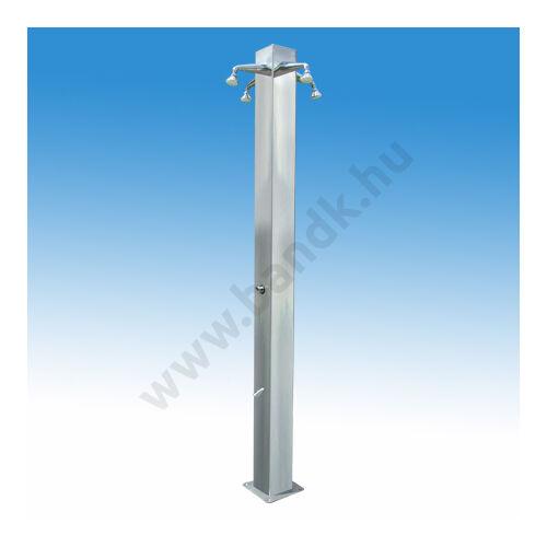 Négykaros szabadtéri zuhanyoszlop (150x150) kevert vízre, két lábzuhannyal, időzített nyomógombos működéssel.