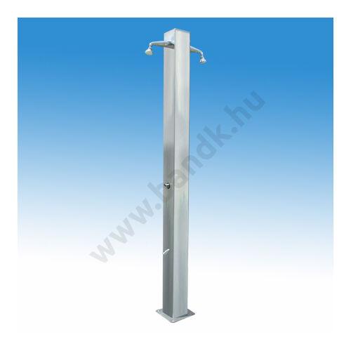 Kétkaros szabadtéri zuhanyoszlop (150x150) kevert vízre, két lábzuhannyal, időzített nyomógombos működéssel.