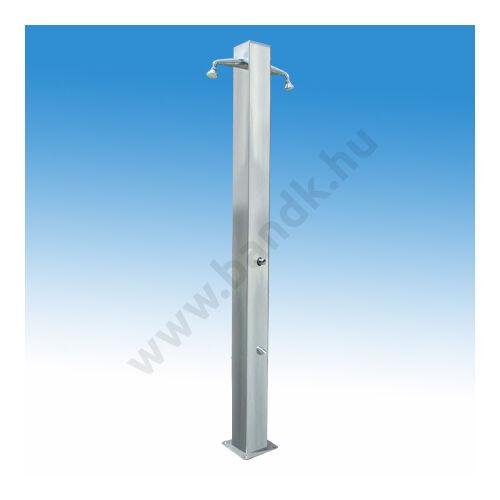 Kétkaros szabadtéri zuhanyoszlop (150x150) kevert vízre, két lábzuhannyal, 90°-kal elforgatva, időzített nyomógombos műk