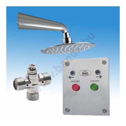 Kényszerzuhany-rendszer, hideg és meleg vízre, kezelő egységgel, esőztető zuhanyfej, termosztatikus keverő, mágneszár