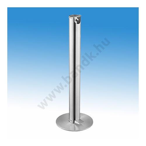 Álló lábpedálos működtetésű kézfertőtlenítő állomás, D90x950 mm, D300 mm-es talppal, rozsdamentes acél, matt
