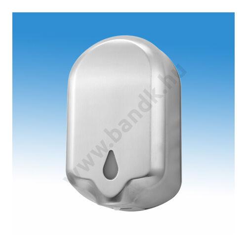 Infrás automata gél állagú kézfertőtlenítőszer adagoló, rozsdamentes acél burkolattal, 1,1 l, elemes, matt