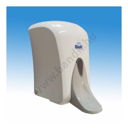 Falra szerelhető könyökkaros folyékonyszappan adagoló, zárható, műanyag, 1 l, fehér