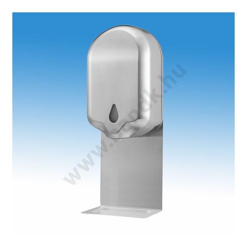 Infrás kézfertőtlenítőszer adagoló, fali kivitelben, rozsdamentes acél burkolattal csepptálcával, 1,1 l-es belső tartály